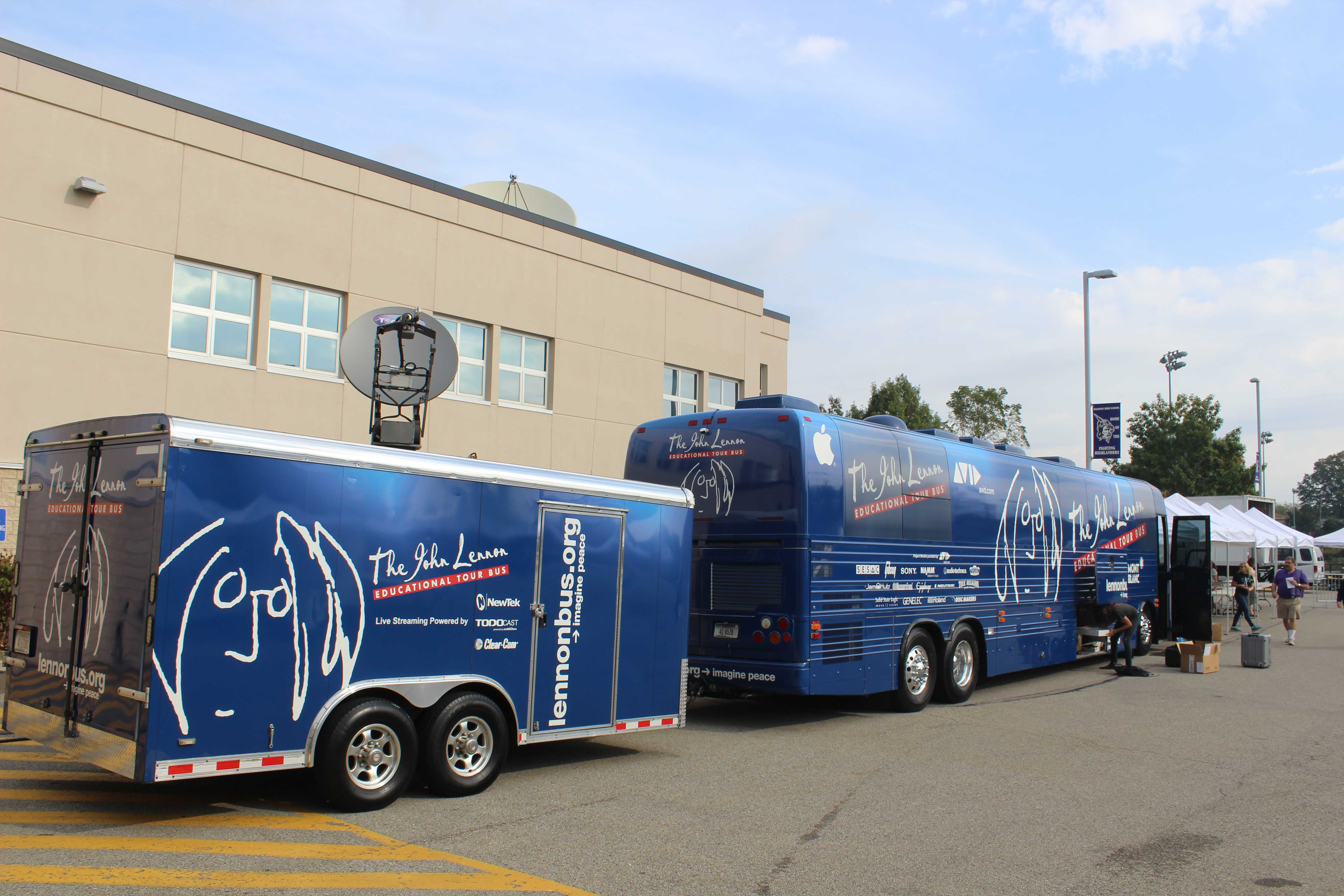 Photo by Shane Becker The Lennon Bus: The  traveling recording studio and Bryce Quig-Hartman