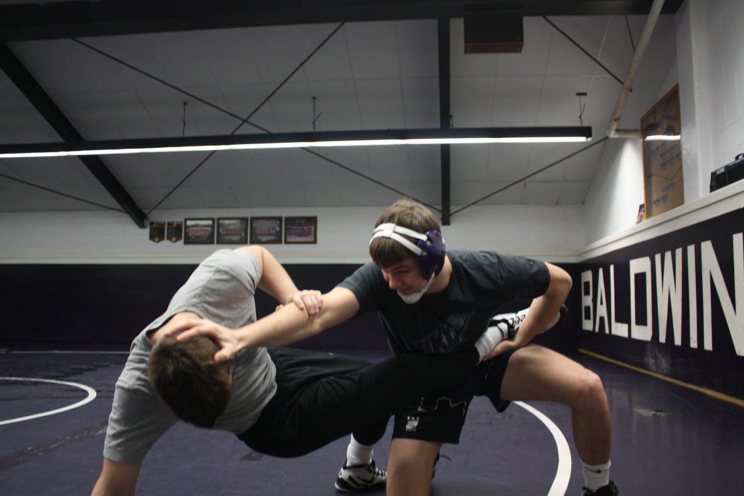 Senior Connor Sidoruk while at practice. Sidoruk has been a key member of the varsity wrestling team for all four years.