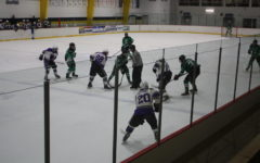 The boys hockey team gets ready to face off at a game.