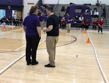 Juniors Ryan Butler and Carson Thieret officiating a bocce match.