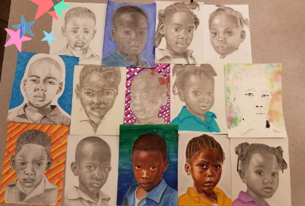 Art students make portraits for orphans