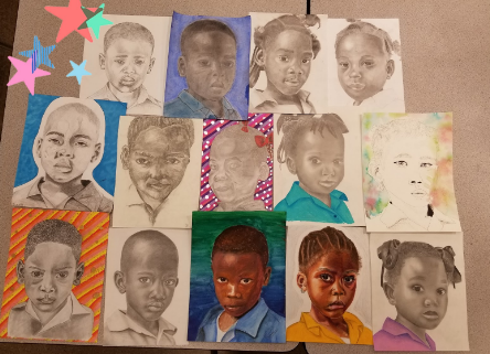 Baldwin art students have created portraits that will be delivered to disadvantaged children in other countries.