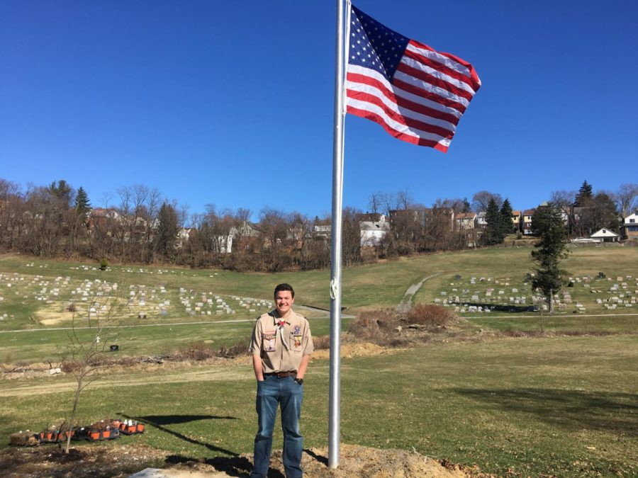 Patriotic+and+proud%3A+Junior+Thomas+Rechtorik+shows+off+his+project+honoring+Civil+War+veterans.+Rechtorik+is+one+of+several+students+who+have+worked+on+earning+the+Eagle+Scout+rank.