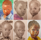 Helping through art: Junior Macy Hale participates in making portraits for children in Haiti. Other students' drawings (above) were also sent back to Haiti for the children.