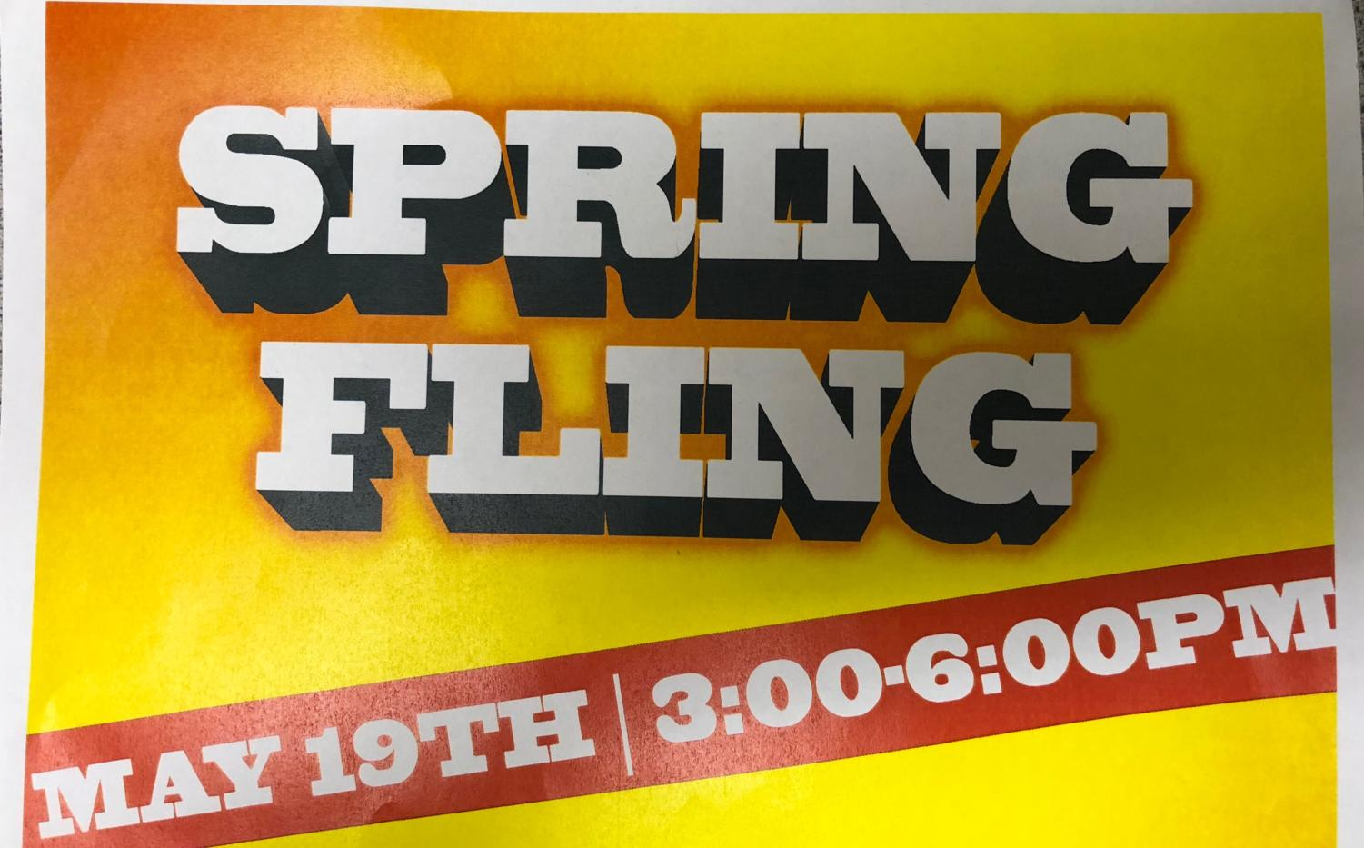 The flyer for the Spring Fling Senior Kaleigh Varney made.