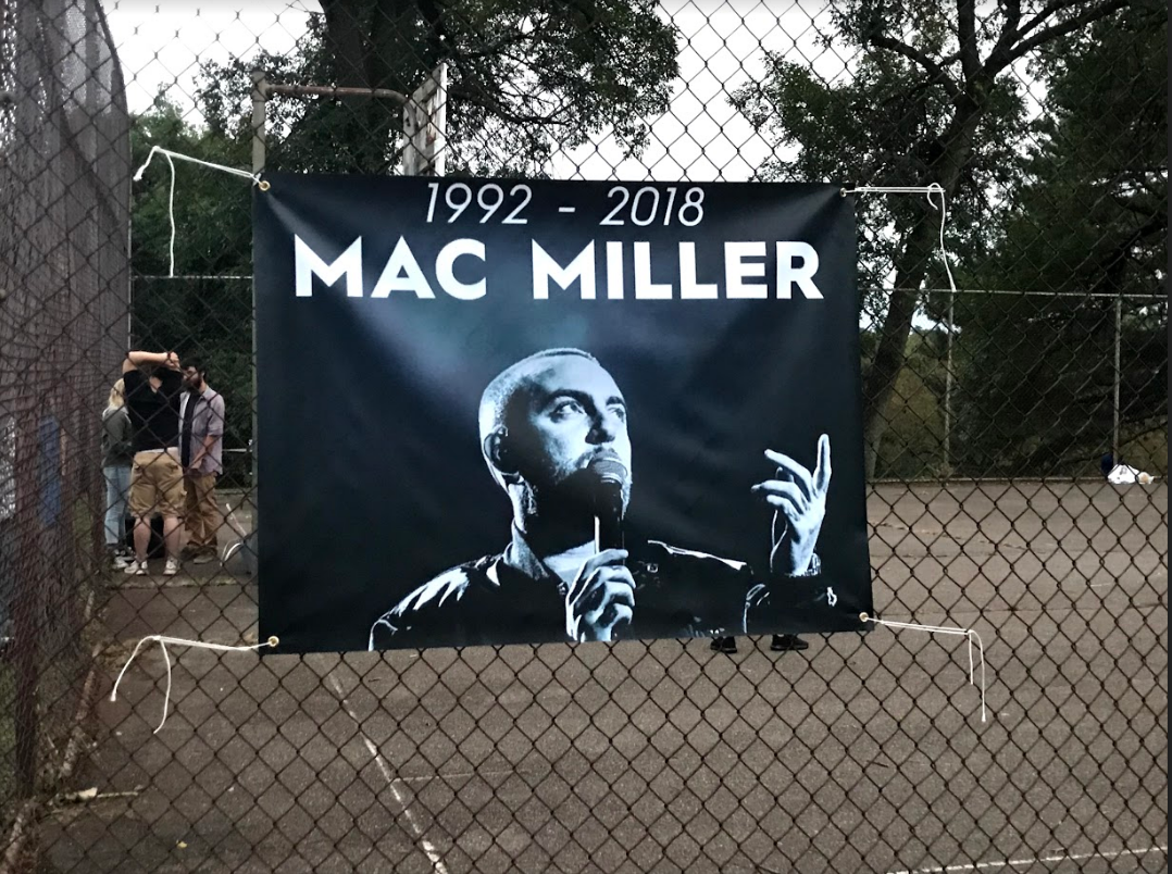Banner memorializes Mac Miller at Blue Slide Park.