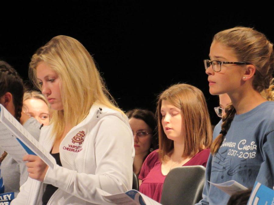 Members of the girls choir perform