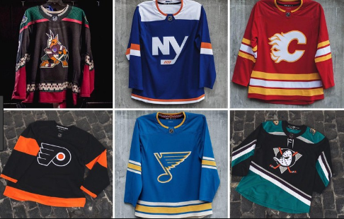 Some of the new NHL retro jersey's for different teams.
