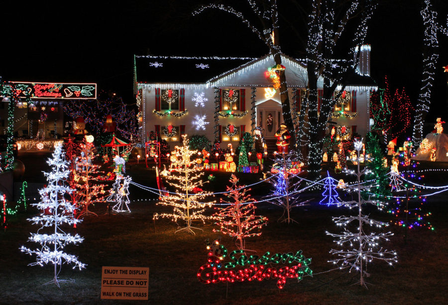 Christmas lights have evolved over the years. Now it is very common for people to have a whole display of lights with music, blowups, and other visuals.