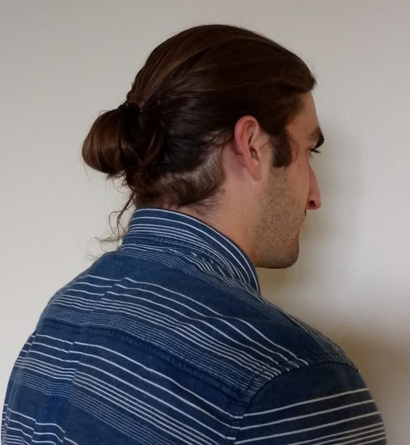 To bun or not to bun: Eli Achtzehn and Jaiman White debate the man bun.