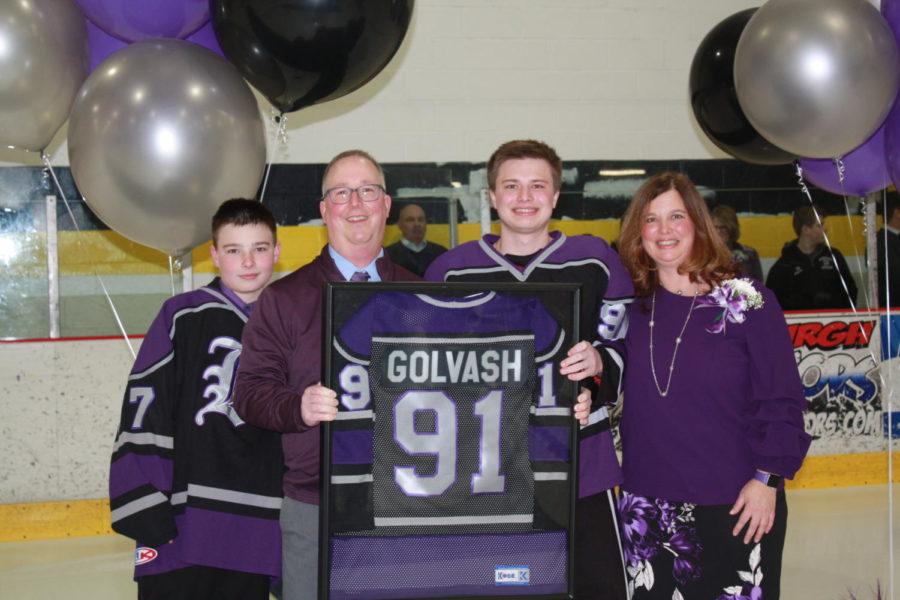 Senior+Andrew+Golvash+honored+at+Senior+Recognition.+Golvash+had+a+hat+trick+Monday+night.