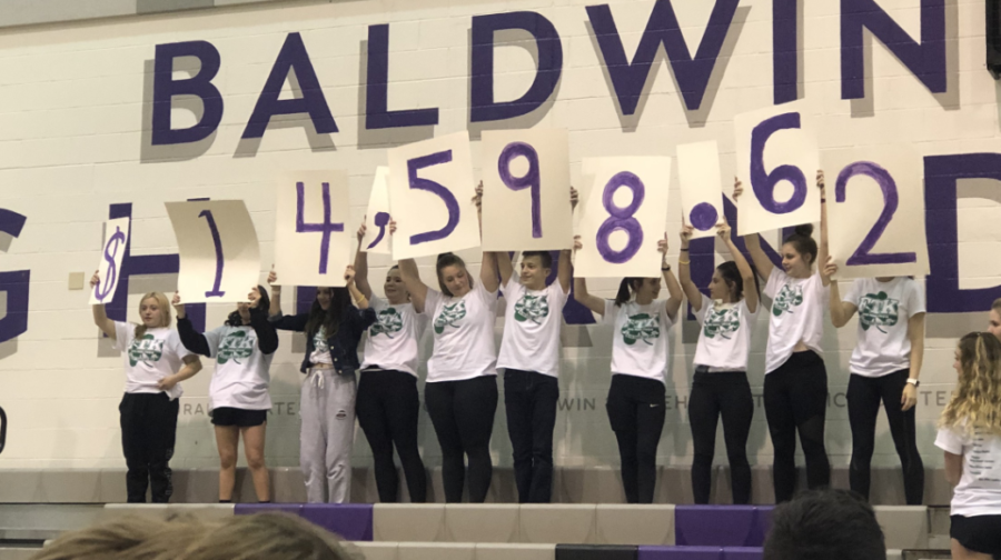 Mini-THON volunteers reveal the total raised amount at the end of the Mini-THON event.