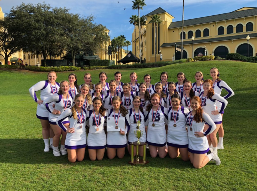 The Baldwin competitive cheerleading mat team placed third in the nation at Disney in February, the highest-ever finish for any Baldwin cheer team.