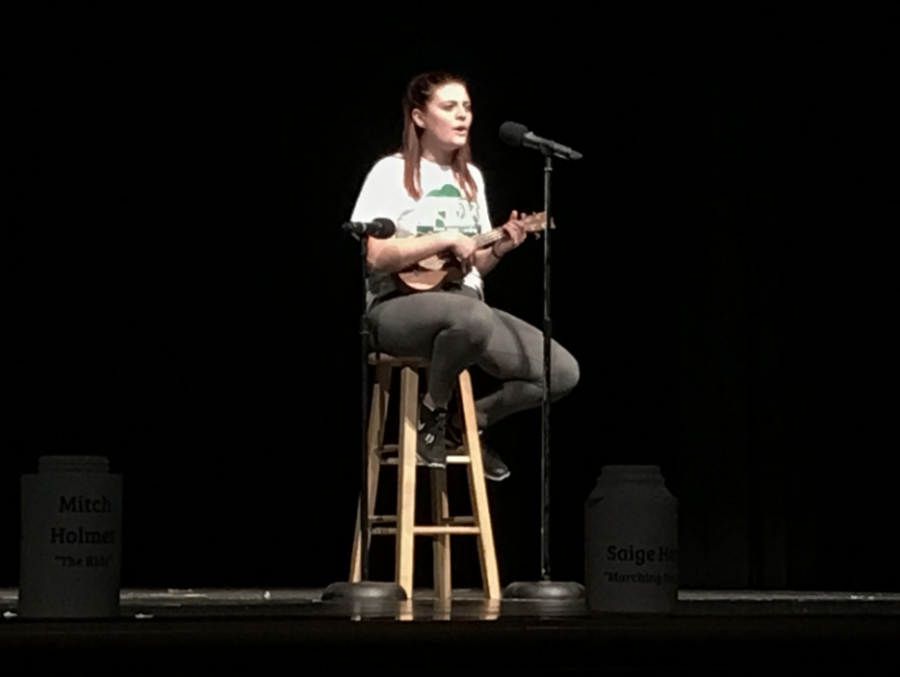Mikayla Davic plays the ukulele and sings at Mini-THON talent show.