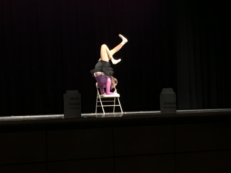 Bella Boehm performs a contortion routine durign the talent show.