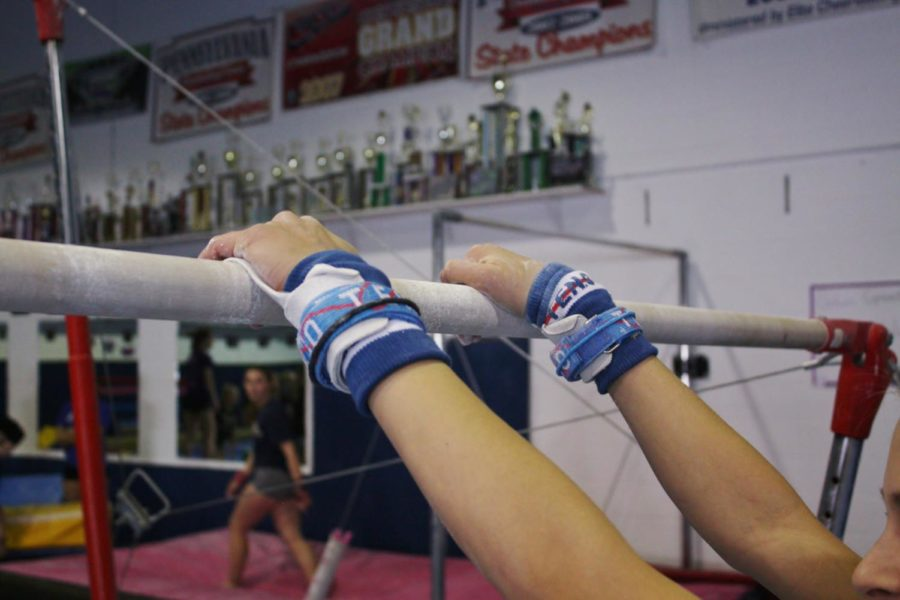Girls+practice+for+their+competition+in+the+Baldwin+gymnastics+studio.