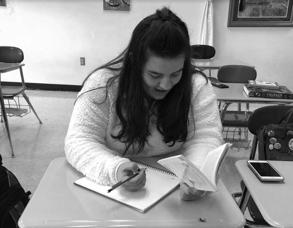 Home away from home: Ilona Thiis studies her native language in French class. Baldwin welcomed two foreign exchange students this school year.