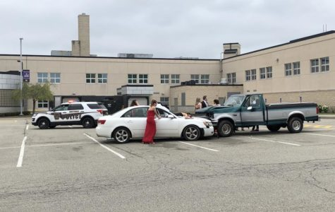 Student actors participate in the Mock Crash program, an event designed to encourage safe driving.