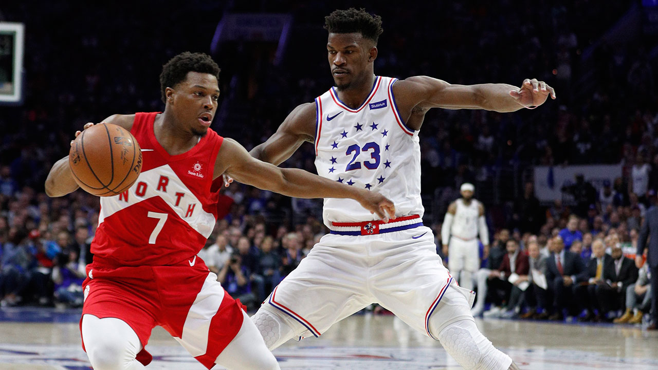 Toronto's Kyle Lowry (left) and Philadelphia's Jimmy Butler both look to advance out of the LeBron-less eastern conference