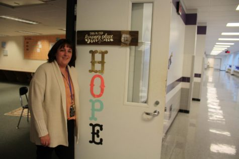 Teacher Amy Prioe stands in the HOPE program classroom on the first floor.