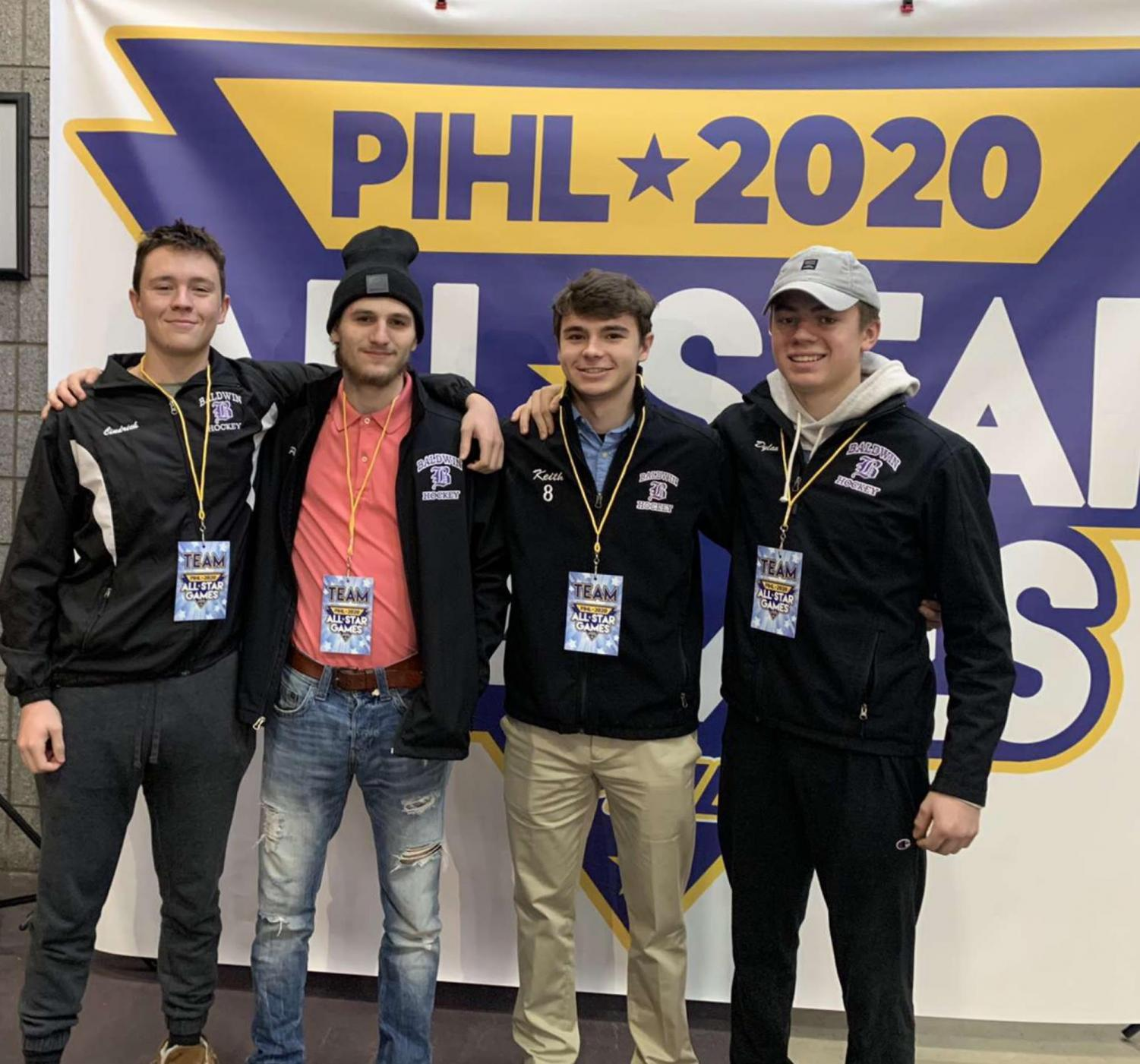 Tanner Cindrich (left) was selected to play at the PIHL All-Star game. The others were Paul Zmuda, Keith Reed, and Dylan Belack.