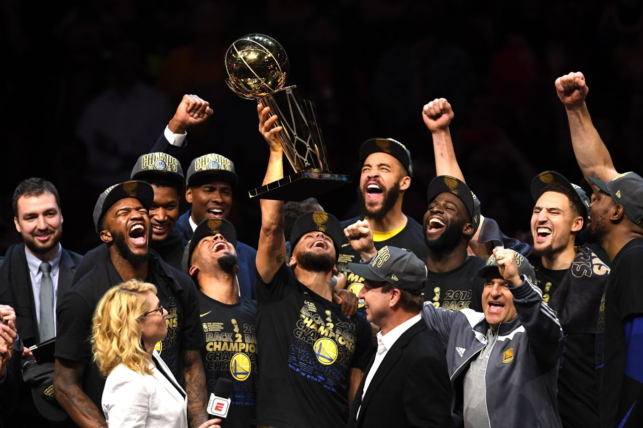 The Golden State Warriors celebrate their championship win.