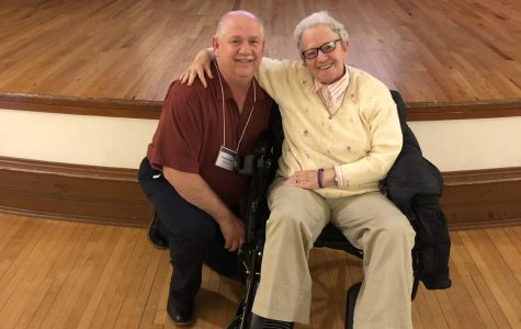 English teacher Dan Shaner poses with Holocaust survivor Shulamit Bastacky.