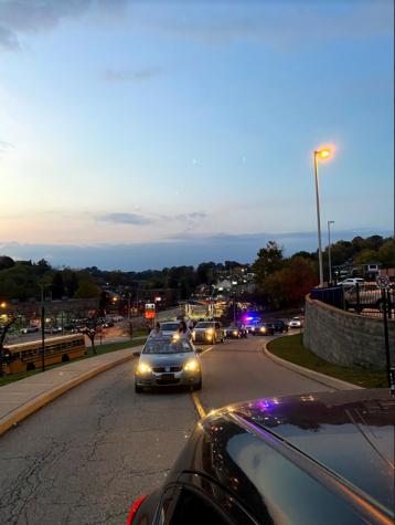The homecoming parade makes its way up to Baldwin High School.