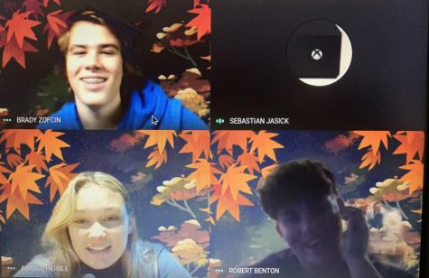 The class picks a festive fall background for their Google Meet class.
