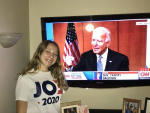 Lindsay Bonetti, wearing her Joe Biden shirt, during the Democratic convention.