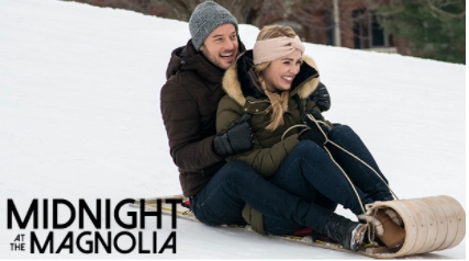 The new Netflix movie Midnight at the Magnolia stars Evan Williams and Natalie Hall.