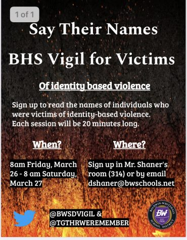 A name reading vigil will be held on March 26th to honor victims of identity based violence.