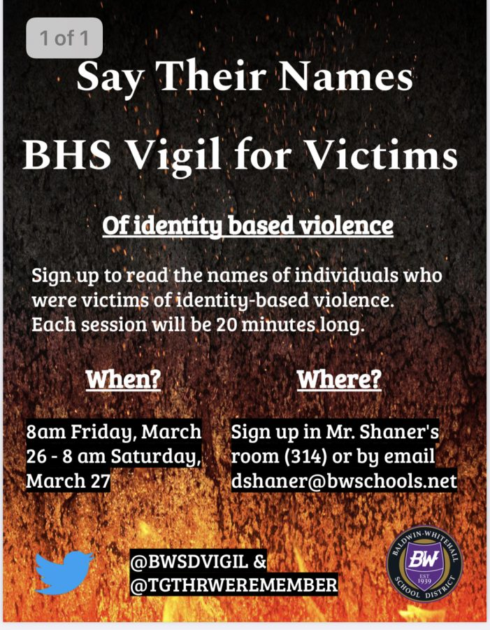 A+name+reading+vigil+will+be+held+on+March+26th+to+honor+victims+of+identity+based+violence.+