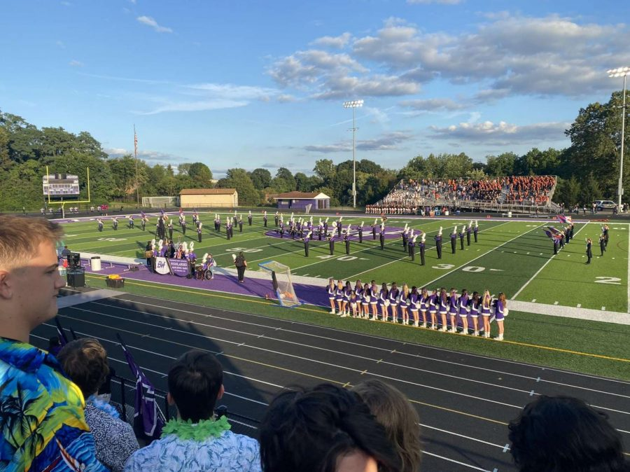The+marching+band+and+color+guard+perform+during+halftime+at+this+years+first+home+football+game.+Baldwin+won+Saturdays+PIMBA+band+competition.