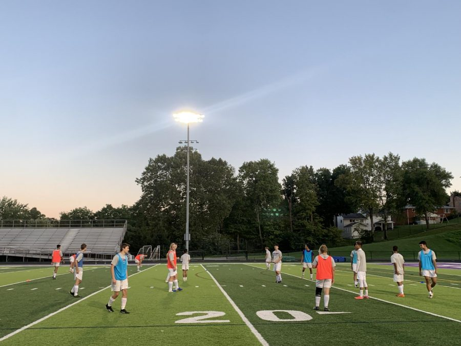Boys soccer practices after school.