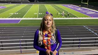 """Senior Elianna Sinkule and the rest of the cheer team were happy for the return of a """"normal"""" Friday night football game."""