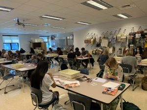 Students in their first day of fashion design.