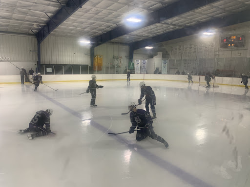 The+ice+hockey+team+warms+up+before+the+game.